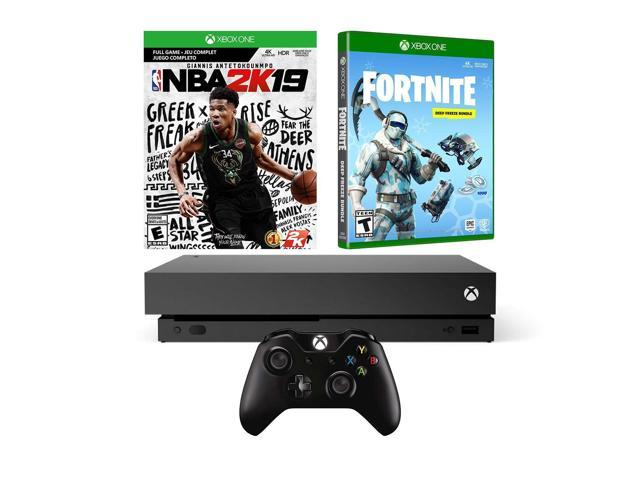 Xbox One X Battle Royale Fortnite and NBA 2K19 Bundle: Fortnite Frostbite  Skin, 1000 V-Bucks, NBA 2K19, Xbox One X 1TB 4K HDR Gaming Console - Black  -