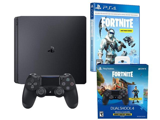 Playstation 4 Battle Royale Fortnite Frostbite and Royale Bomber Skin  Bundle: 1500 V-Bucks, Two Dualshock 4 Wireless Controllers, 1TB PlayStation  4