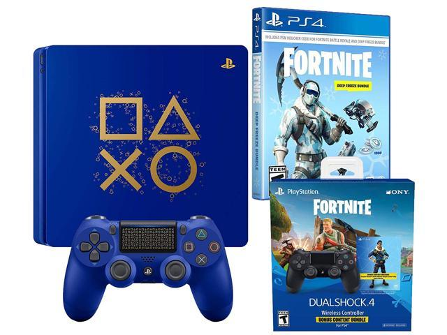 PlayStation Battle Royale Fortnite Frostbite and Royale Bomber Limited  Bundle: Days of Play 1TB PlayStation 4 Slim Console, 1500 V-Bucks,  Frostbite