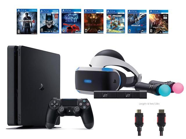 PlayStation VR Bundle (10 Items): PS4 Slim Console with Uncharted 4 Game,  VR Headset, 2 Move Controllers PlayStation Camera, 6 VR Games (Until Dawn,