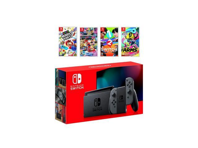 2019 New Nintendo Switch Gray Joy Con Console Multiplayer Party Game Bundle Super Mario Party Mario Kart 8 Deluxe 1 2 Switch Arms