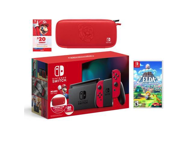 2019 New Nintendo Switch Mario Red Joy Con Improved Battery Console Carrying Case 20 Eshop Credit Bundle With The Legend Of Zelda Link S Awakening