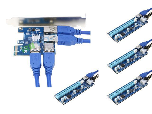 Ubit 4 in 1 PCI-E Riser Adapter Board 6 PIN 16x to 1x Powered Riser Adapter...
