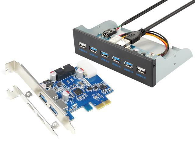 5 25 inch USB 3 0 Hub Front Panel Metal Case + PCI-e Express