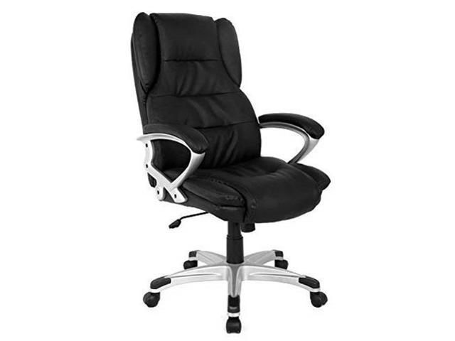 INLAND 05163A Modern High Back Presidential Leather Office Chair Black