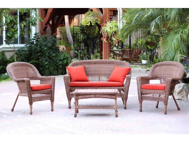 Astonishing 4 Piece Honey Wicker Patio Chairs Loveseat Table Furniture Set Red Orange Cushions Newegg Com Beutiful Home Inspiration Aditmahrainfo
