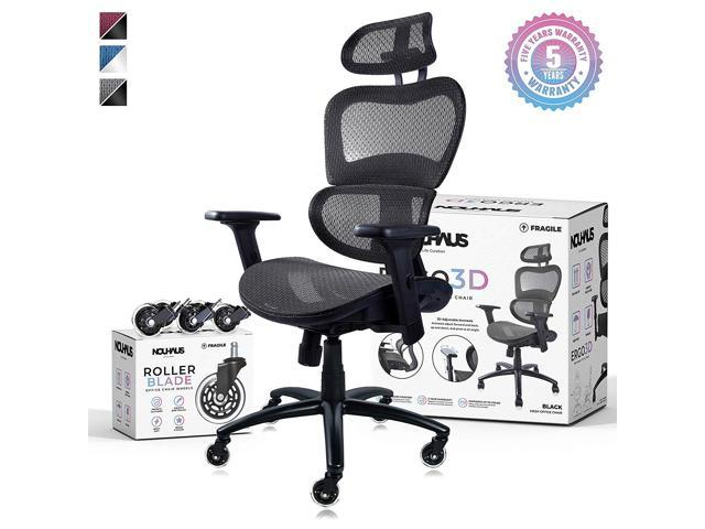 Awesome Nouhaus Ergo3D Ergonomic Office Chair Rolling Desk Chair With 4D Adjustable Armrest 3D Lumbar Support And Extra Blade Wheels Mesh Computer Chair Download Free Architecture Designs Salvmadebymaigaardcom