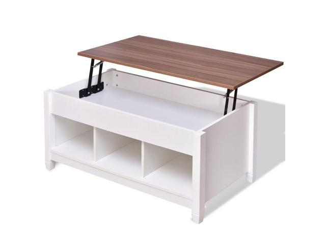 Groovy Lift Top Coffee Table W Hidden Compartment And Storage Shelves White Newegg Com Caraccident5 Cool Chair Designs And Ideas Caraccident5Info