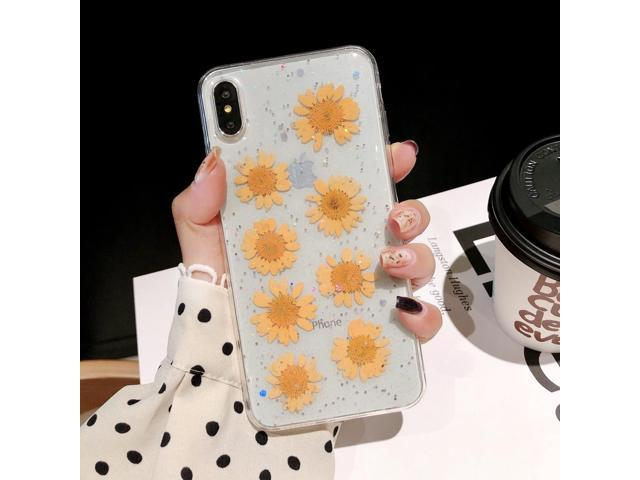 Daisy Pattern Real Dried Flowers Transparent Soft TPU Cover For iPhone XS  Max(Yellow) - Newegg com