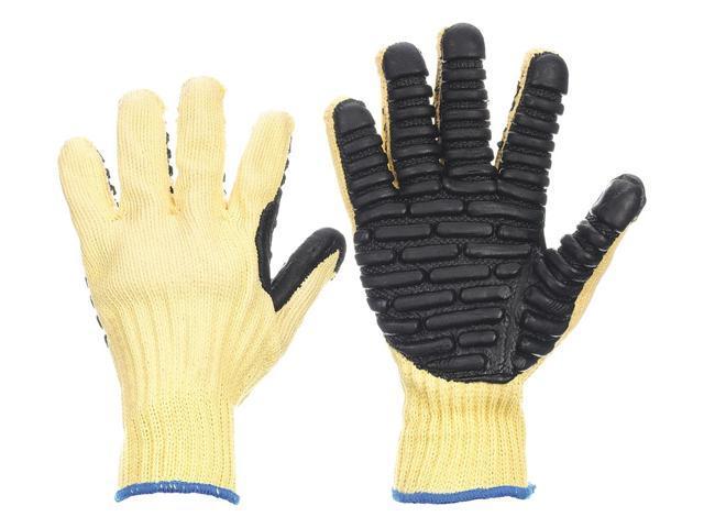 Anti-Vibration Gloves, M, Black/Yellow, PR
