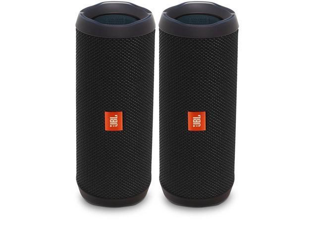 Jbl Flip 4 Waterproof Portable Wireless Bluetooth Speaker Bundle Pair Black Newegg Com