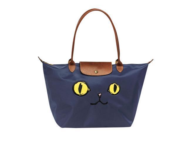 54dbd0702910 Longchamp Le Pliage Miaou Cat Large Tote Bag Long Handle Navy ...