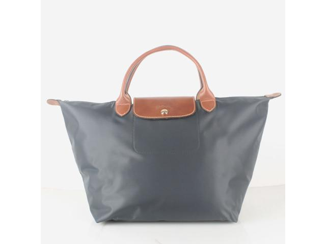 14d9cfbc86a Longchamp Le Pliage Medium Nylon Short Handle Tote Handbag Graphite