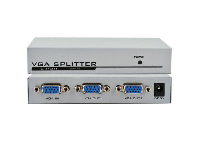 1 PC to 2 Monitor 2 Port VGA SVGA Video LCD Splitter Box Adapter w// Power Cable