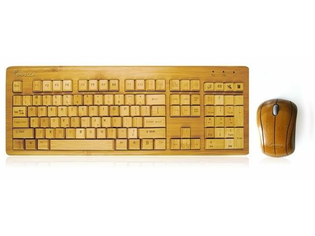 1c255f21b70 HOT IMPECCA KBB600CW Hand-Carved Designer Bamboo Wireless Keyboard and Mouse  Combo