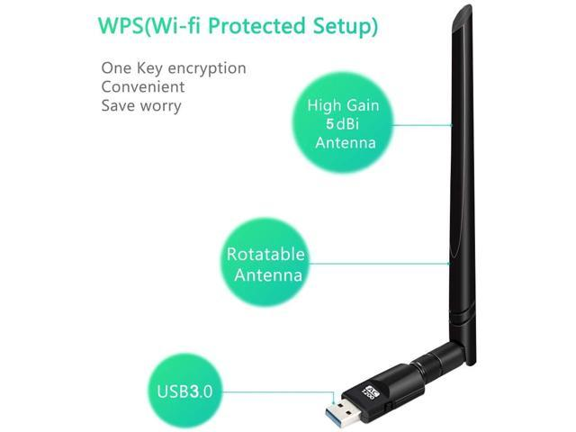 USB WiFi Adapter 802.11ac 600Mbps Wireless Network Adapter with Dual Band 2.4GHz and 5.8GHz Wireless Network WiFi Dongle with 5dBi Antenna No CD Network Card for Desktop Windows 10//8//7//Vista//XP Mac OS