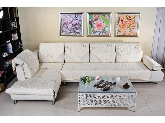 quilted embroidery sectional sofa couch slipcovers furniture rh newegg com Custom Sofa Slipcovers Slipcovers for Sofas with Pillows