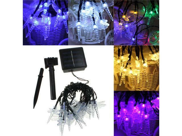 Set Of 20 Solar String Dragonfly Garden Lights LED Fairy Lanterns Purple