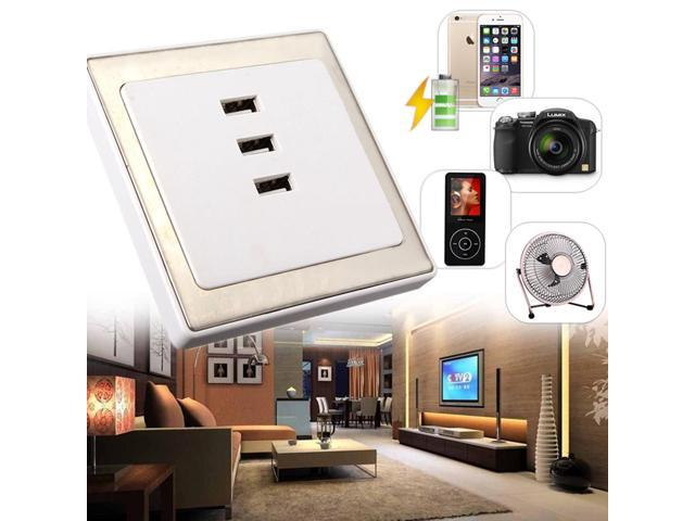 220V 3 USB Ports Wall Socket Charger AC Power Supply Outlet Plate Panel For  Home Office