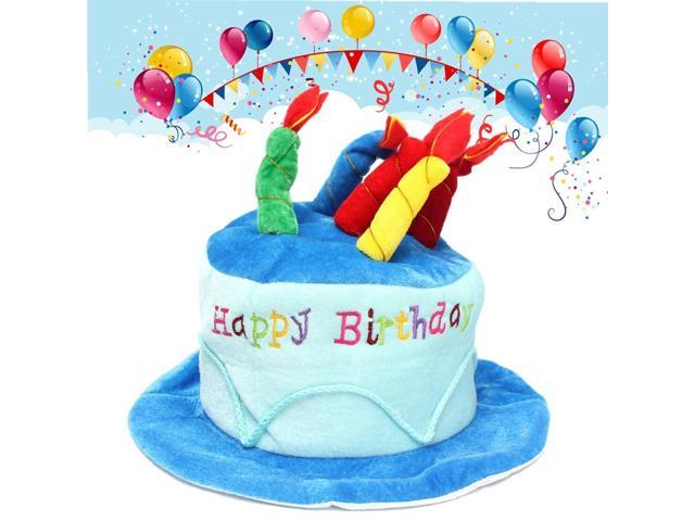 Unisex Adult Size Happy Birthday Plush Cake Hats Novelty Cap Candles Party Supplies Gifts Lovely Costume