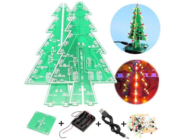 diy kit circuit board mould 3d christmas tree led flashing light green red yellow