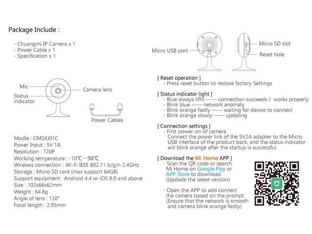 Xiaomi MIjia CHUANGMI Smart Home Security Triple Storage 120 Degree 720P  WIFI Mini IP Camera Night Vision Monitor - Newegg com