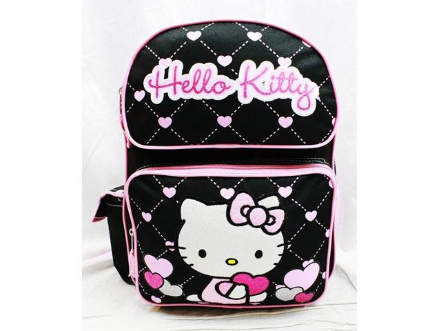 4c00352be8e5 Medium Backpack - Hello Kitty - Glitter Heart Black School Bag 14