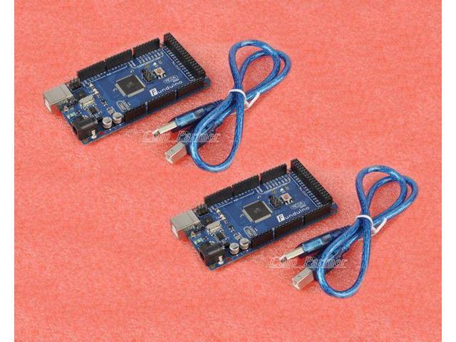 2PCS Mega 2560 ATMEGA2560-16AU Board USB Cable Funduino Arduino-compatible