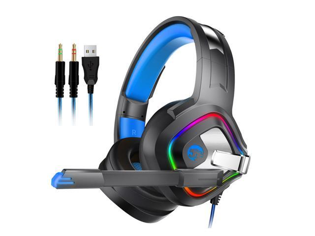 Askmeer A66 Gaming Headset Ps4 Best Pc Stereo Headphones Casque With Mic Rgb Led Light For Xbox One Notebook Laptop Gamer Newegg Com