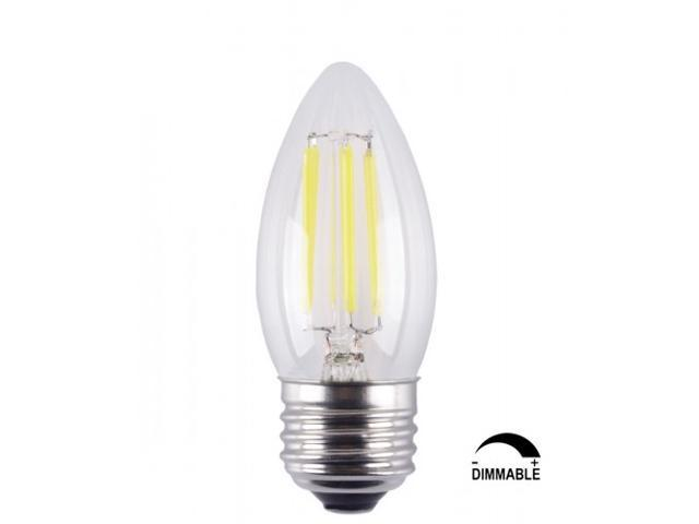6 Pack 6w Dimmable Led Filament Candle Light Bulb E26 Base Chandelier Lamp