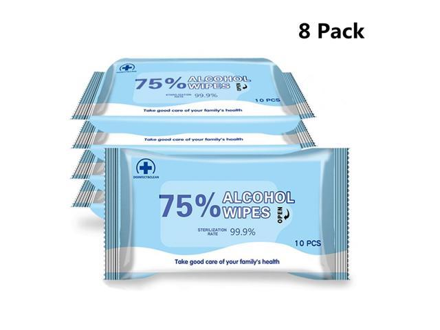 Disinfectant Wipes, (8 Pack,80 Wipes) 75% Alcohol Wet Wipes Cleaning Wet Wipes, Daily Disinfecting Use for Hand Home House