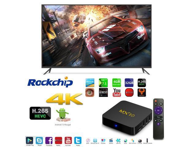 MX10 OTT IPTV Internet Smart TV Box 4K Ultra HD Android 7 1 Quad Core  1 5GHz RAM:4GB/ROM:32GB Network Streamer Media Player - Newegg com