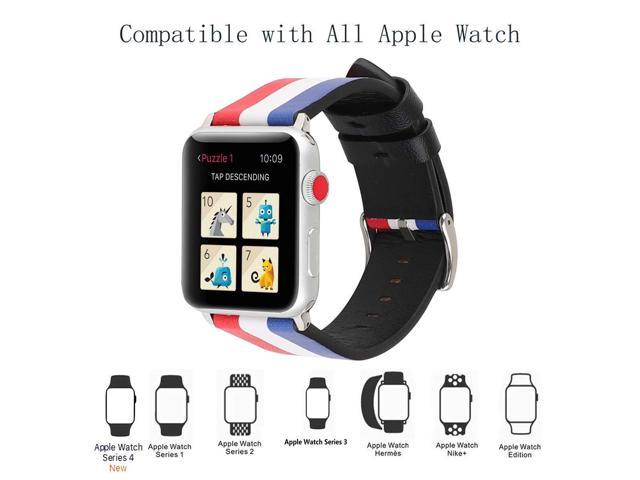 f74c4bf1b7463 WONMILLE Compatible for Apple Watch Band 38mm 40mm 42mm 44mm, iWatch Bands  Soft Leather Stripe Replacement Strap for Apple iWatch Series 4 Series 3 ...