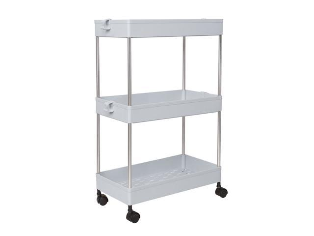 3 Tiers Storage Rolling Cart with Wheels Slide Out Storage Organizer Rack  Shelf Tower for Laundry/Bathroom/Kitchen, Grey - Newegg com