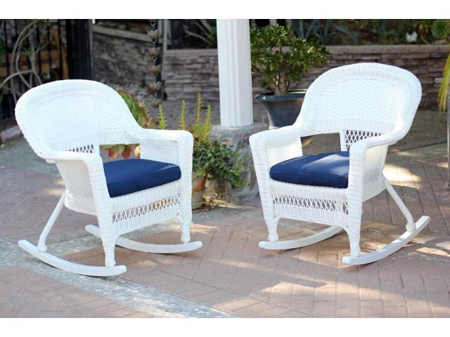Stupendous 2 Piece Ariel White Resin Wicker Patio Rocker Chairs Furniture Set Blue Cushions Newegg Com Lamtechconsult Wood Chair Design Ideas Lamtechconsultcom