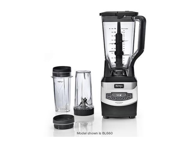Ninja Professional Blender with Nutri Ninja Two 16oz Cups with Single Serve To-Go Lids Stainless Steel Powerful 110-Watt Motor Base and 72oz Pitcher BL660 (Renewed)