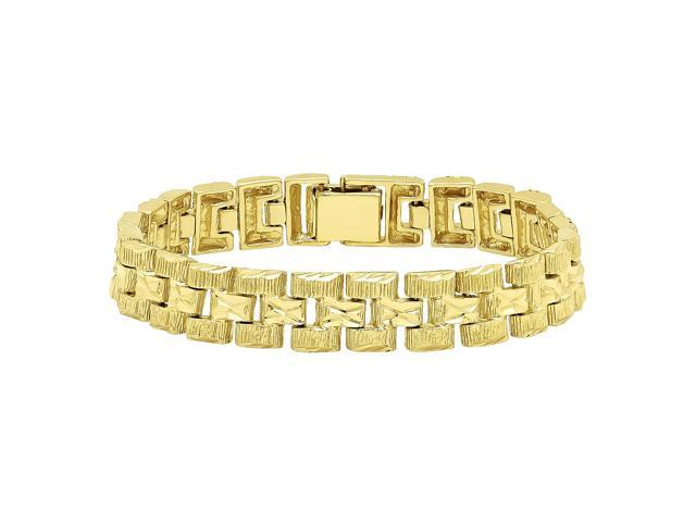 8b0abc5afe364 Men's Classic 14k Gold Plated Textured Panther Link Watchband Style  Bracelet - 7 Inch - Newegg.com