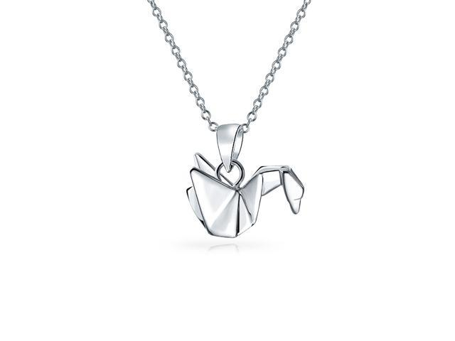 Amazon.com: Origami Crane Necklace in Sterling Silver with 16 Inch ... | 480x640