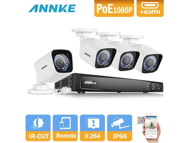 Kit de sistema de cámara seguridad POE 1080p ANNKE con NVR 8 canales y 4 x  2 0MP noche visión cámaras compatibles con Hikvision Onvif IP cámara -