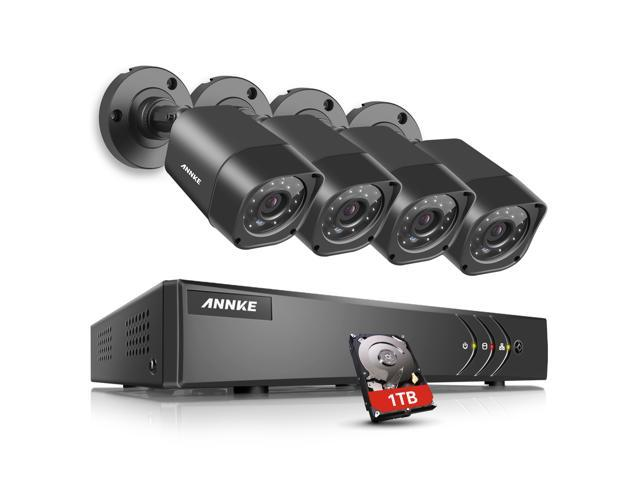 ANNKE 8CH Security Camera System HD-TVI 1080P lite Video DVR Recorder with  1TB Hard Drive and 4x 720p CCTV Outdoor Camera, IP66 Weatherproof -