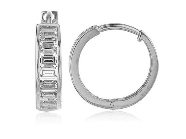 7923b58ff 14k White Gold 15-mm Baguette-cut Cubic Zirconia Hinged Hoop Earrings