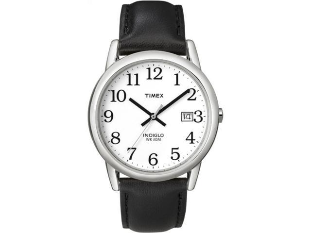 Timex Men's Easy Reader 35mm | Black Leather Strap | Watch T2H281