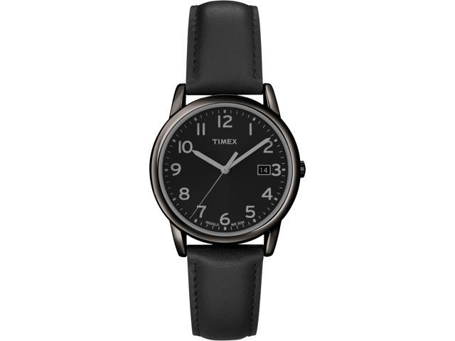 Timex Men S Indiglo Black Case With Black Leather Strap Dress Watch T2n947 Newegg Com