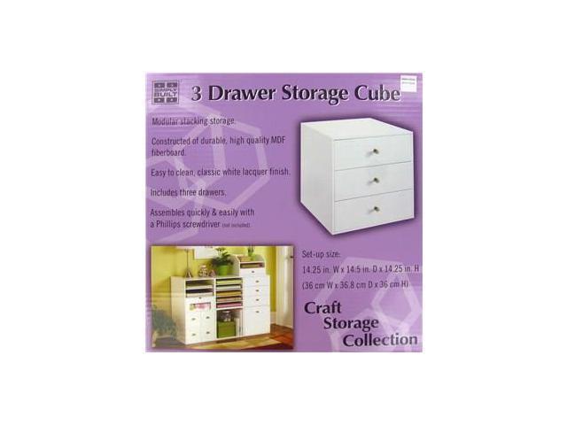 Jetmax White 3 Drawer Storage Cube