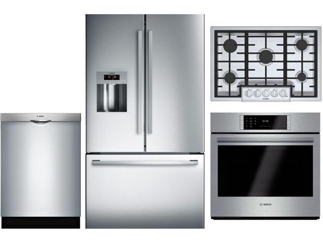 4 Piece Kitchen Appliance Package with B26FT50SNS 36 French Door  Refrigerator NGM8056UC 30 Gas Cooktop HBLP451UC 30 Single Wall Oven and  SHS863WD5N 24 ...