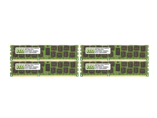 64GB 4x16GB 2RX4 PC3L-12800R DDR3 1.35V Registered RDIMM For Dell PowerEdge R620