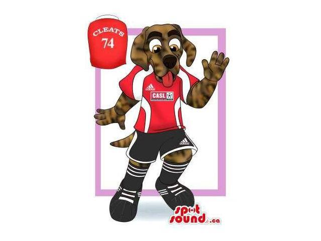 Brown Dog Canadian SpotSound Mascot Drawing Dressed In Sports Team Gear  With Logo 6c99a22a2