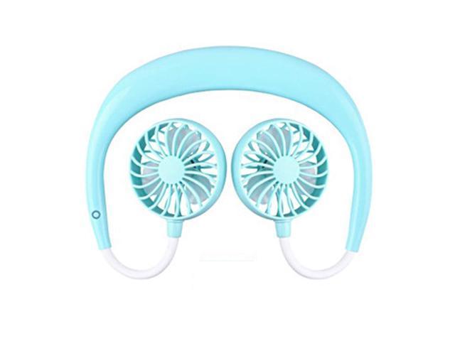 HAIMEI-WU 1PCS Portable Fans Hand Unfreeze Neckband Fans with USB Rechargeable 1200mA Battery Operated Treble Wind Head 3 Speed Fan Mini Electric Fan Color : Blue