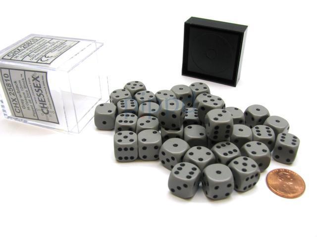 Chessex Dice 36 Block Sets 12mm D6 Phantom Black//Silver Pips 36 Die CHX 27888