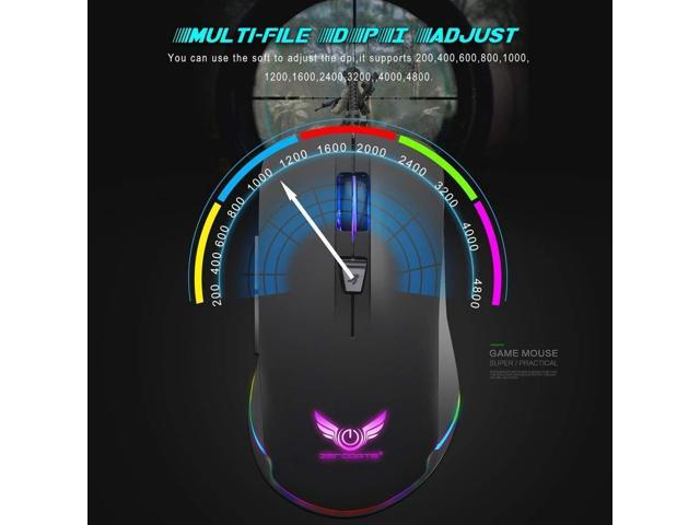 Color : Black Wang5995 Office Home Mouse Gaming Mouse Wired 4 Level Adjustable DPI Breathing Light Programmable Macros Adjustable Weight Ergonomic Optical Mouse